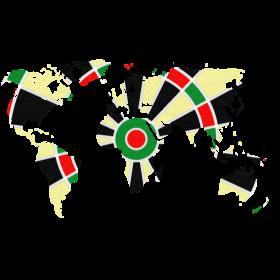 Welt Dartscheibe auf dein T-Shirt