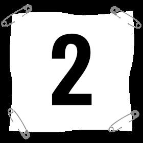 Startnummer 2 mit Sicherheitsnadel auf dein T-Shirt
