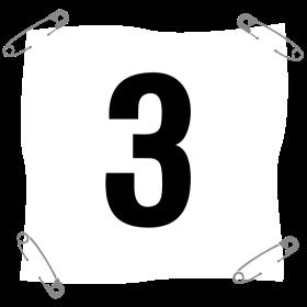 Startnummer 3 mit Sicherheitsnadel auf dein T-Shirt