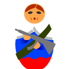 Matroschka mit Maschinengewehr auf dein T-Shirt
