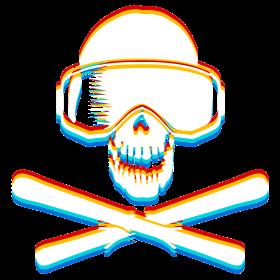 Ski Skulls mit Farbe 3D auf dein T-Shirt