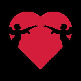 Engel vor Herz mit Gewehr auf dein T-Shirt