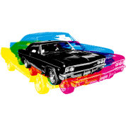 Muscle Car - Retro - CMYK