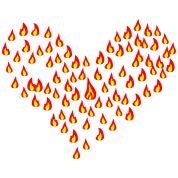 flame - fire - heart - love