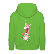Kids' Hoodie - Kids' Tops Cute Dancing Pink Cartoon Unicorn by Cheerful Madness!! Kids' Tops