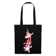 Tote Bag - Bags  Cute Dancing Pink Cartoon Unicorn by Cheerful Madness!! Bags