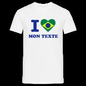 T-Shirt Personnalisé I Love Drapeau Brésil