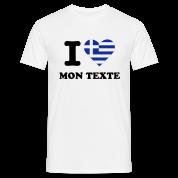 T-Shirt Personnalisé I Love Drapeau Grèce