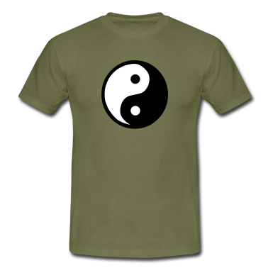 Khaki green Yin Yang Men's Tees