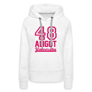 Sweat-shirts ~ Sweat-shirt à capuche Femme ~ Sweat femme Aligot University marquage rose néon