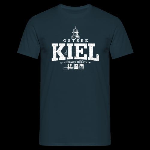 Männer T-Shirt von B&C - T-Shirts Kiel Ostsee (weiss oldstyle)