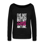 Hoodies & Sweatshirts ~ Women's Boat Neck Long Sleeve Top ~ Squat aint one | Womens