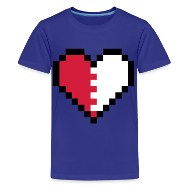 Cyan Broken Pixel Heart Kids' Shirts