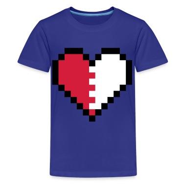 Turchese Broken Pixel Heart T-shirt bambini