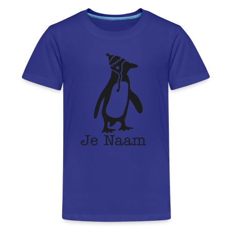 t-shirt penguin met zwarte glitters koningsblauw