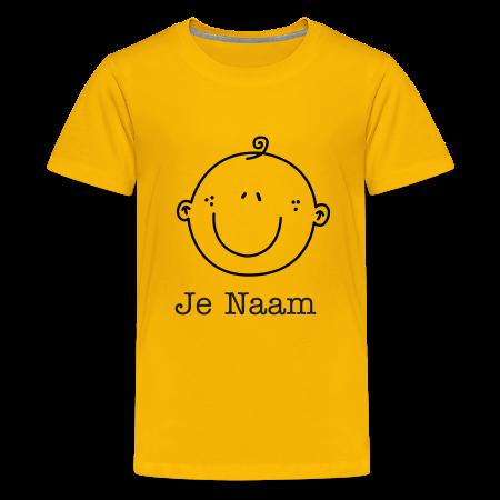 geel t-shirt met smiley zongeel