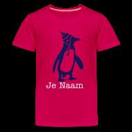 roze t-shrit penguin met je naam