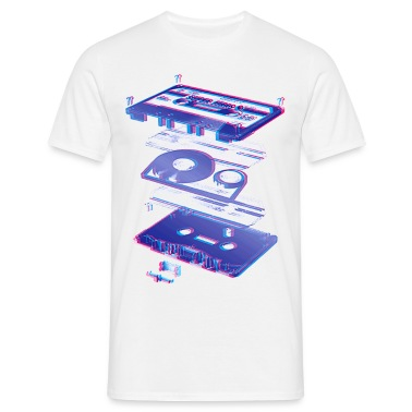 White audio cassette tape compact 80s retro walkman Men's Tees