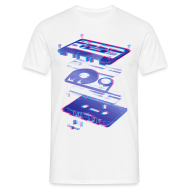 White audio cassette tape compact 80s retro walkman Men's Tees