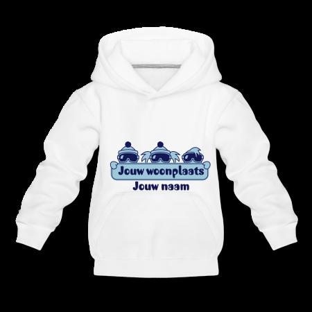 kindertrui met jouw plaatsnaam tijdens de wintersport wit