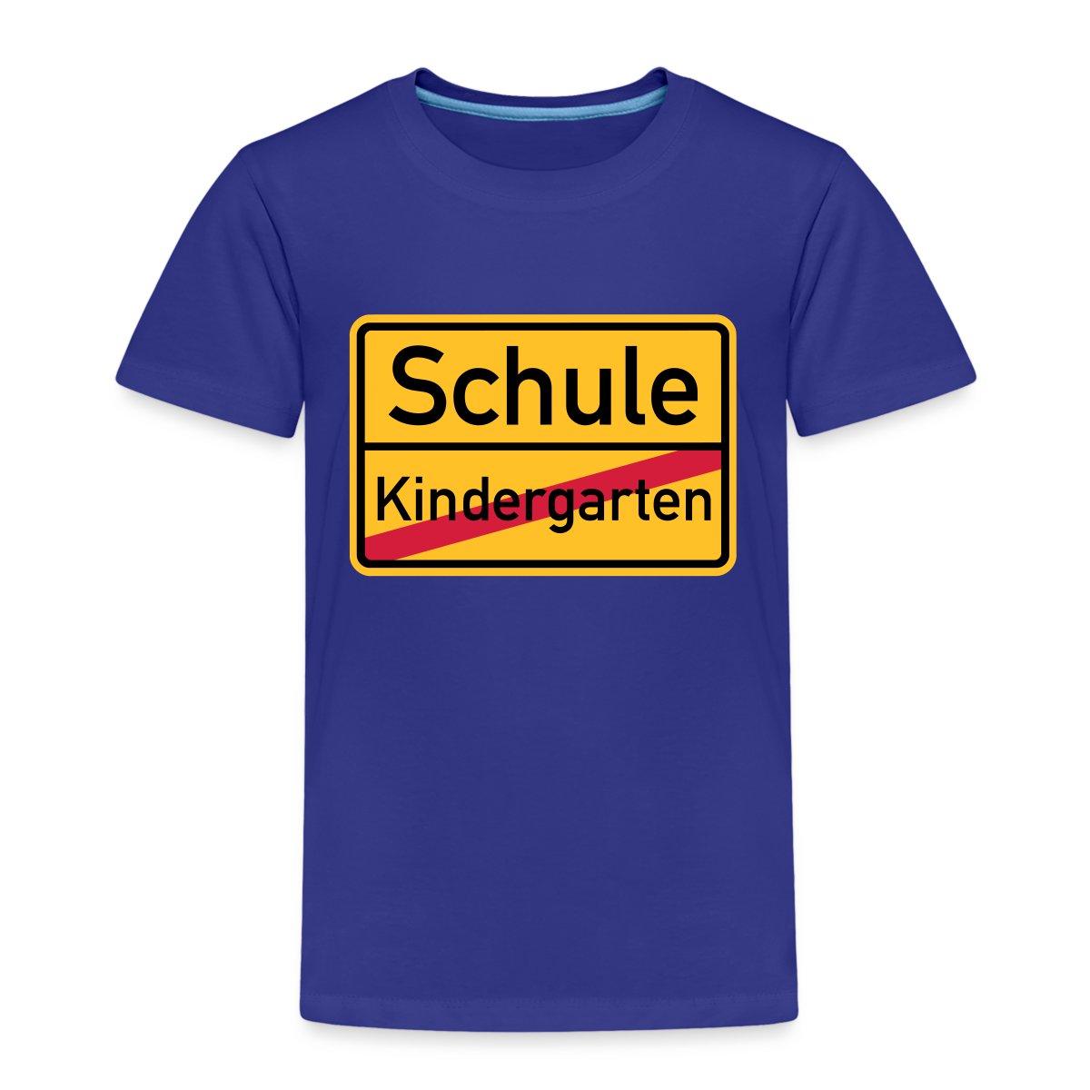 Einschulung-Schule-Ortsausgangsschild-Kinder-Premium-T-Shirt-von-Spreadshirt