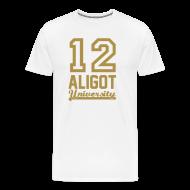 Tee shirts ~ Tee shirt Premium Homme ~ Tee shirt homme 12 aligot university white & gold