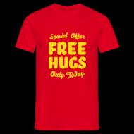 T-shirts ~ Mannen T-shirt ~ T-shirt met fluweelprint Free hugs today