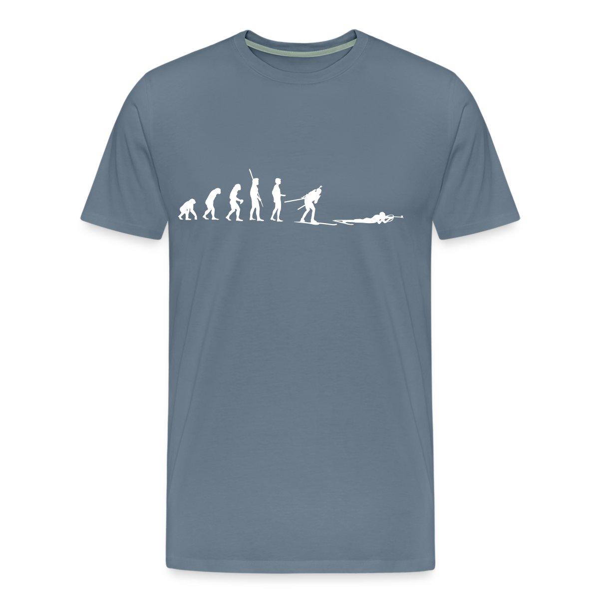 Biathlon-Evolution-Biathlet-Liegendschiessen-Maenner-Premium-T-Shirt-von