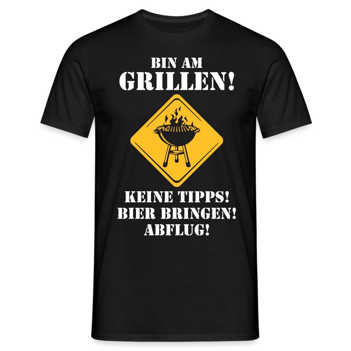 Grillen-Keine-Tipps-Bier-Bringen-RAHMENLOS-Maenner-T-Shirt-von-Spreadshirt