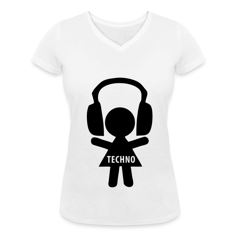 Techno Queen Headphones T Shirt V Ausschnitt