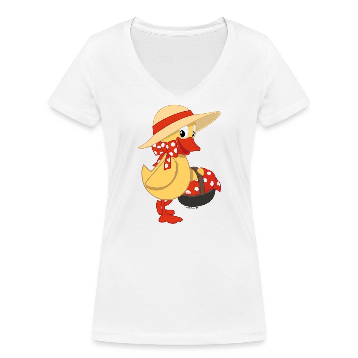 Sandmaennchen-Schnatterinchen-Mit-Korb-Frauen-T-Shirt-mit-V-Ausschnitt-von