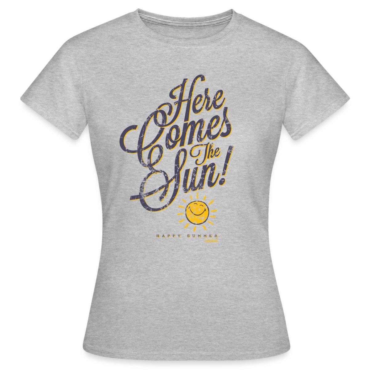 Smiley-World-Here-Comes-The-Sun-Frauen-T-Shirt-von-Spreadshirt