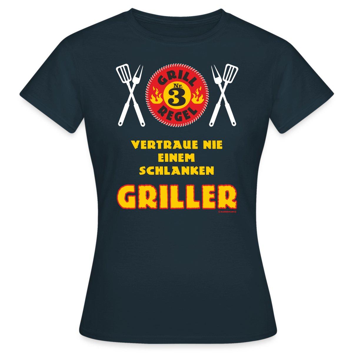 Grillregel-Schlanker-Griller-RAHMENLOS-Frauen-T-Shirt-von-Spreadshirt