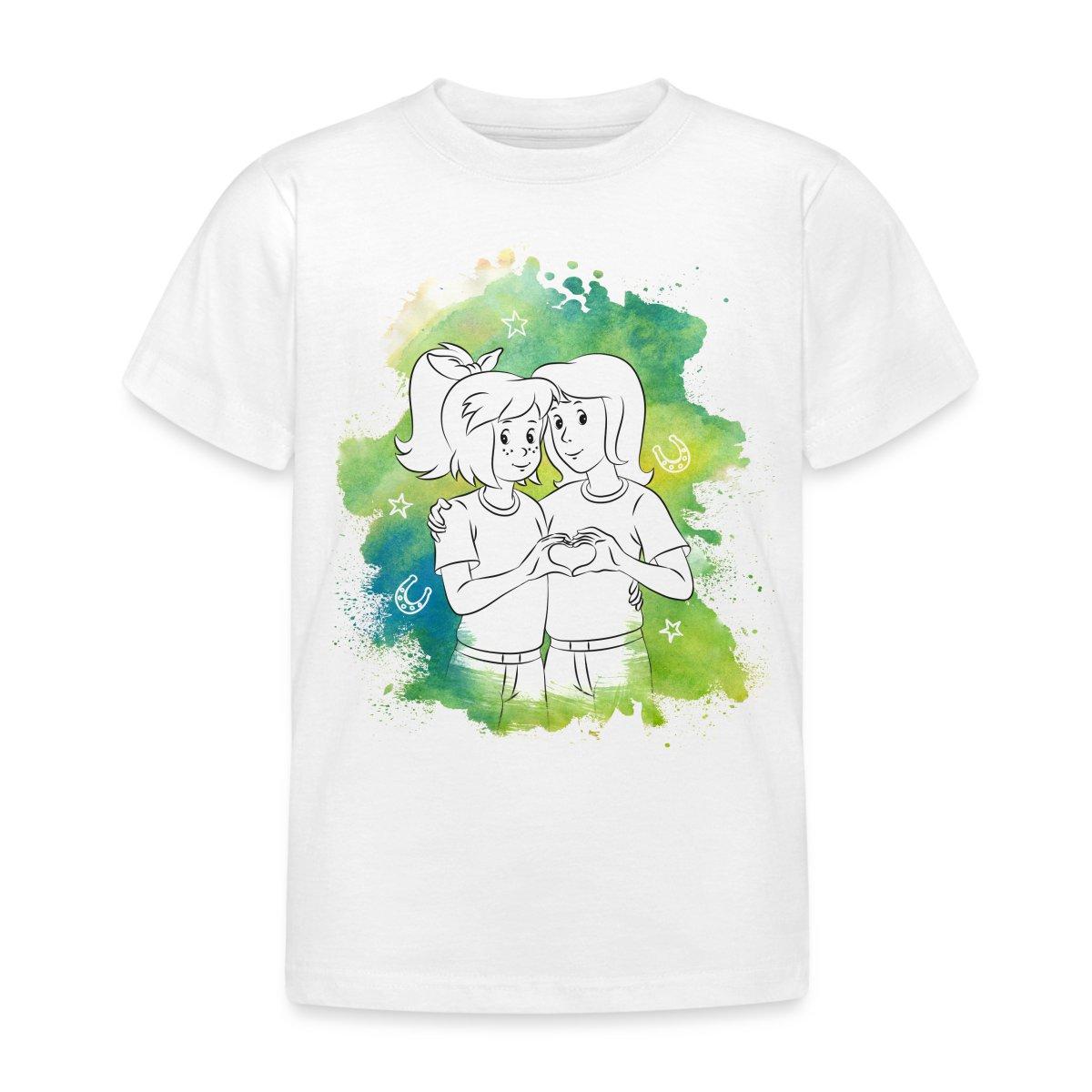 Bibi-Und-Tina-Beste-Freundinnen-Herz-Line-Art-Kinder-T-Shirt-von-Spreadshirt
