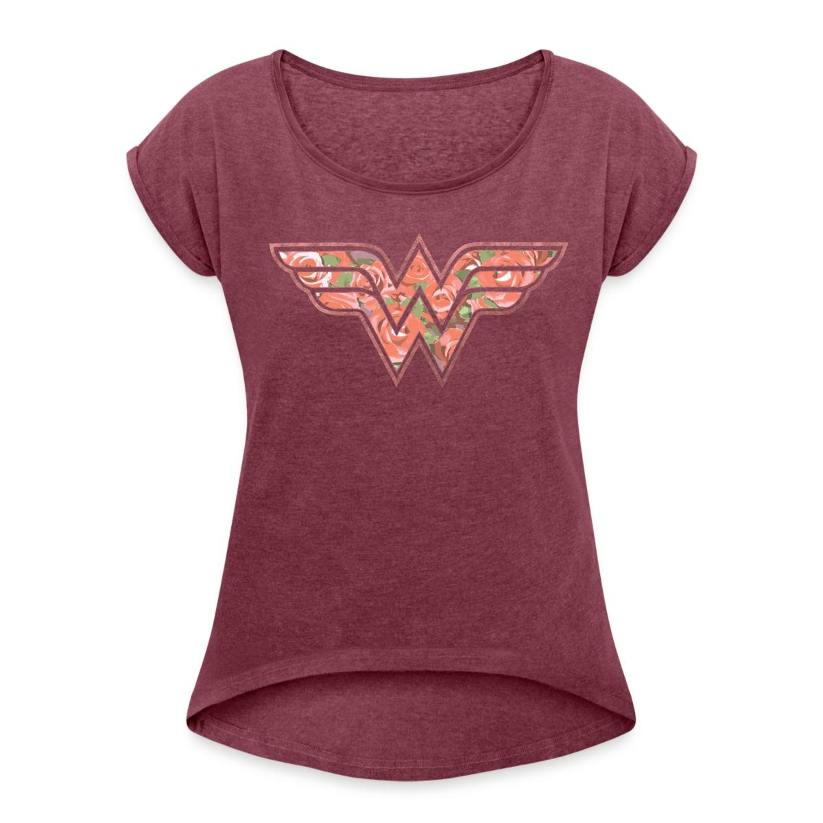 dc comics wonder woman florales logo rosen frauen t shirt. Black Bedroom Furniture Sets. Home Design Ideas