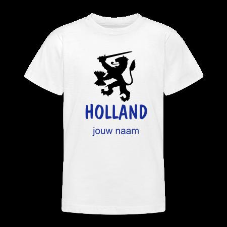 oranje t-shirt Holland voetbal leeuw met jouw naam bedrukt goudoranje