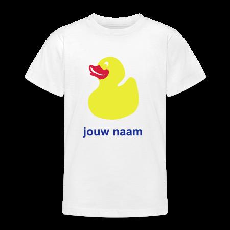 oranje t-shirt eendje met je naam bedrukt goudoranje