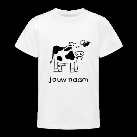 koeien t-shirt met je naam goudoranje