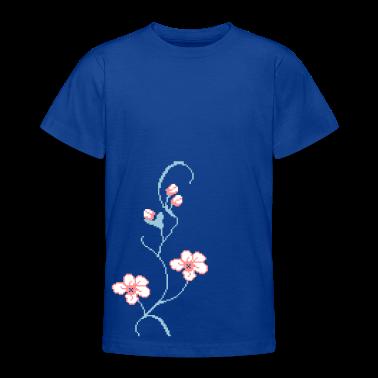 Royal blue Pixel Blumenranke / pixel flower rank (3c) Kids' Shirts