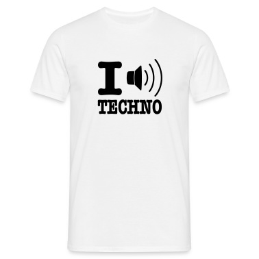 Bianco I love techno / I speaker techno T-shirt