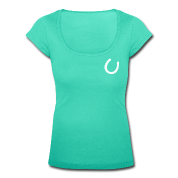 Aqua green Horseshoe pattern horse shoeriding equestrian Women's T-Shirts