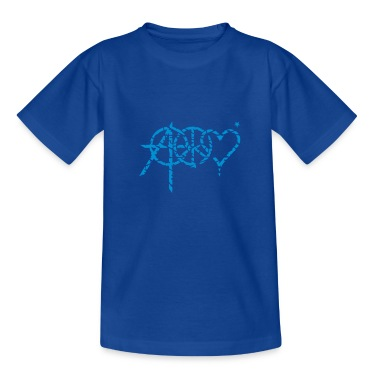 Royal blue anarchy peace love (grunge, 1c) Kids' Shirts