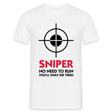 White Sniper - No need to run (2c) Men's T-Shirts