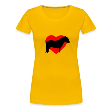 Yellow I love ponies I love Shetty I love horses I heart horses Women's T-Shirts