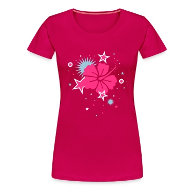 Ruby red Hibiscus flower and stars Women's T-Shirts