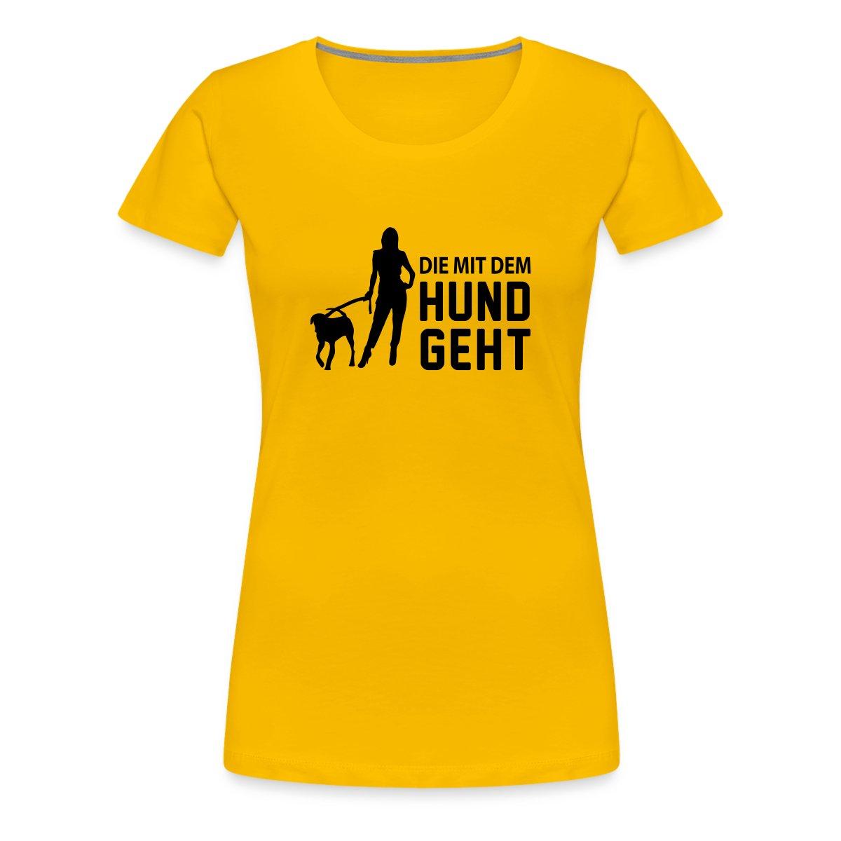 Die-Mit-Dem-Hund-Geht-Gassi-Gehen-Hundebesitzer-Frauen-Premium-T-Shirt-von
