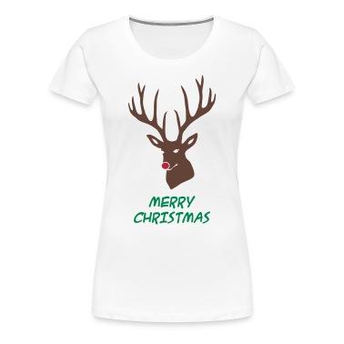 ... mas merry reindeer deer rudolph red nose antlers buck heart T-Shirts