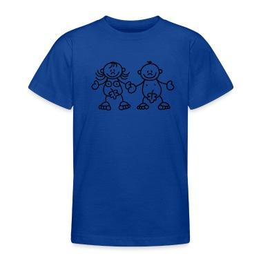 Adamo ed Eva con una foglia di fico T-shirt bambini