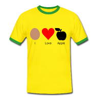 T-Shirts ~ Männer Kontrast T-Shirt ~ I Love Apple