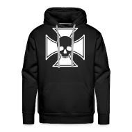 Hoodies & Sweatshirts ~ Men's Hoodie ~ Iron Cross Skull hoodie - red/white